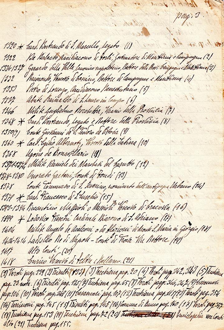 3. dal 1320 (Card. Bertrando di S. Marcello) al 1418 (Enrico Vescovo di Feltre e Belluno)